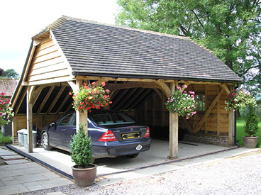 Oak Framed Two Bay Building and Garage