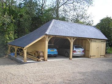 Oak Three Bay Framed Garage and Building picture 1