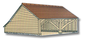 Oak timber framed Two Bay Garage Drawing 1